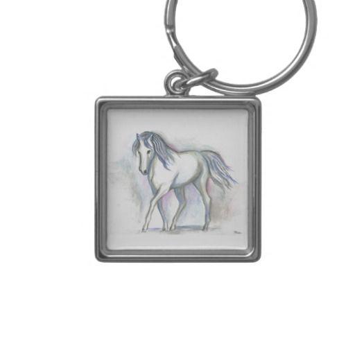'White Pony' Keychain, by Roz Abellera.  This is a painting of a white horse that I saw in an Ocala, Florida farm. Horses are some of the most beautiful creatures on this earth. #keychain #RozAbellera #horse #art #accessories