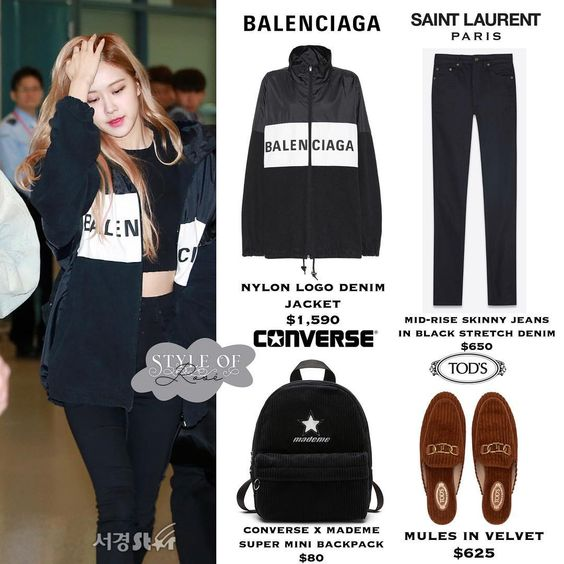 *⑅୨୧ 181007 ୨୧⑅* #BLACKPINK #ROSÉ ⠀ brand - BALENCIAGA nylon logo denim jacket $1,590 brand - SAINT LAURENT mid-rise skinny jeans in black…