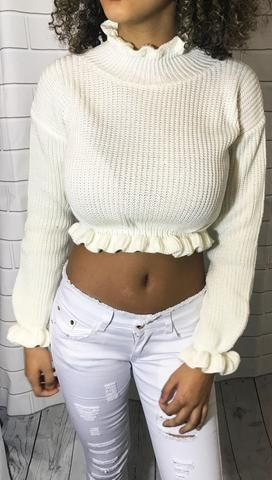 Womens Ladies Roll Neck Knitted Long Sleeve Cropped Jumper Top Size UK 8-14
