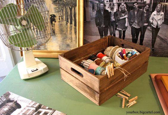 www.yourbox.bigcartel.com  caja de madera 2 listones color envejecido. personalizable. texto a escoger. decoración. almacenaje. orden. casa. manualidades. cintas. hilos. wooden crate. box. decoration. storage. chic. actual. rustic. vintage. industrial. boho. romantic. style. washitapes. craft. crafters.