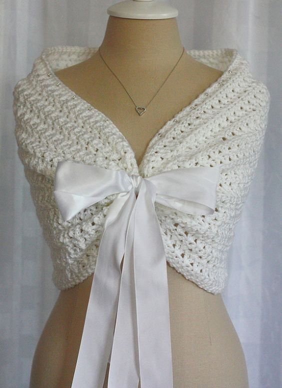 White wedding shawl bolero shrug cape satin ribbon for Shawls for wedding dresses