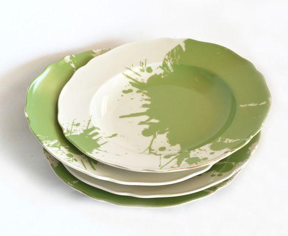 Vintage soup plates - sage green paint spots  via Etsy.