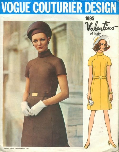 Vogue Couturier Design 1995 reissue pattern of 1960s Valentino Misses' One-Piece Dress. Loosely-fitted, slightly A-line dress. Bias standing collar; short raglan sleeves. Self contour belt.    Featured in Vogue Pattern Book August/September 1968