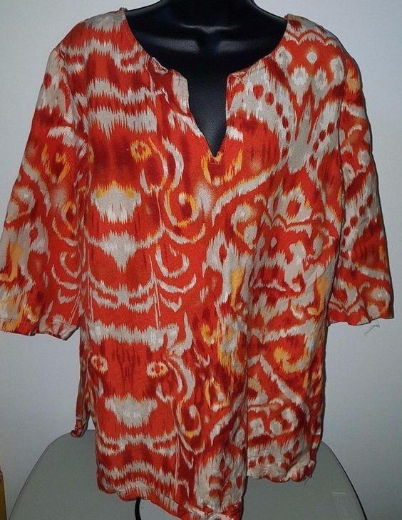 Ashley Stewart Woman's 55% Linen Orange/Yellow/Red/White Design Shirt Size 14 #AshleyStewart #Blouse #Casual