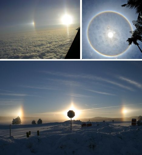 A sun dog, or parhelion, is an exceedingly bright spot on a solar halo. A sundog is an atmospheric optical phenomenon primarily associated with the reflection or refraction of sunlight by small ice crystals making up cirrus or cirrostratus clouds. Often, two sun dogs can be seen (one on each side of the sun) simultaneously.