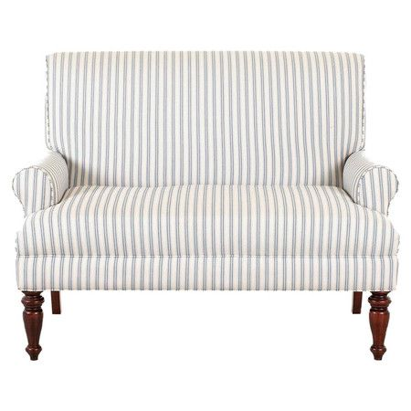 Featuring rolled arms, turned legs, and striped upholstery, this stylish sofa is a timeless addition to your living room or den seating group.