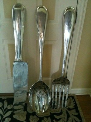 large s 3 silver fork knife spoon wall decor metal utensil. Black Bedroom Furniture Sets. Home Design Ideas