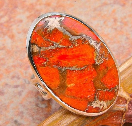 ORANGE COPPER STERLING SILVER RING
