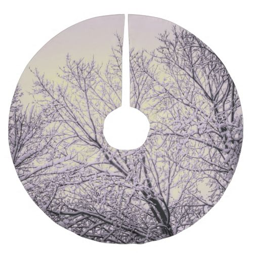 Snow covered winter treetops in a pink tinted winter sky.#zazzle#christmas