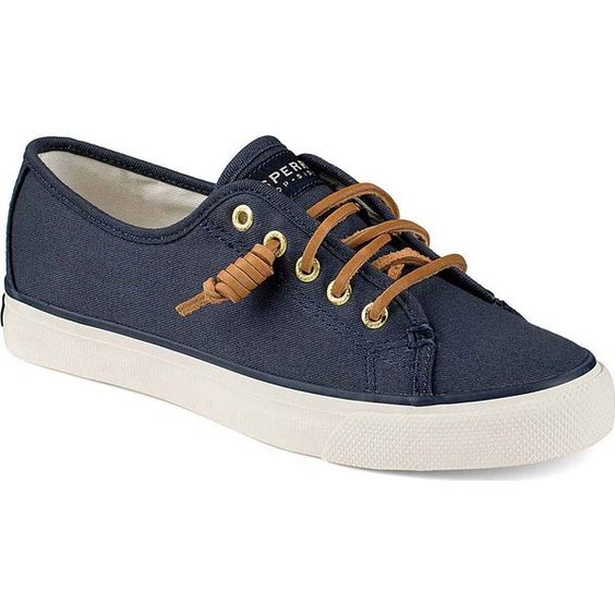 Sperry Women's Seacoast Canvas Navy Burnished Canvas Athletic Shoes &... (380 VEF) ❤ liked on Polyvore featuring shoes, sneakers, blue, canvas lace up shoes, canvas shoes, lace up sneakers, navy blue sneakers e wide shoes
