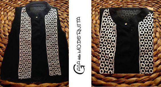 Camisa cavada evasê leve em chiffon com renda de algodão