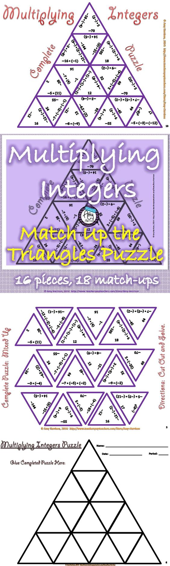 Adding subtracting multiplying and dividing integers puzzle worksheet