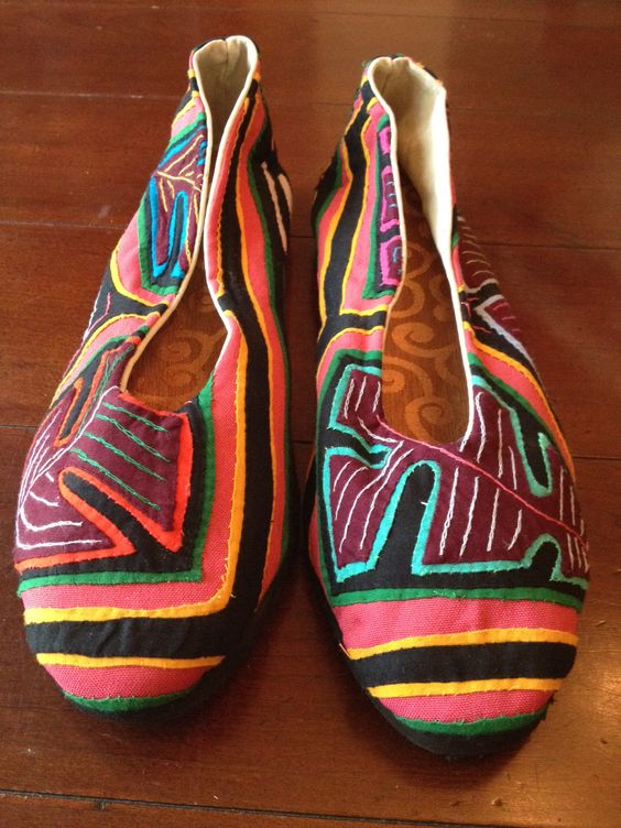 Kuna Kicks are one-of-a-kind flats made by the women in Panama. Help preserve this traditional art form and increase womens access to opportunities. $70   This pair features watermelon pink + green, with awesome leaves on the front.    Now in Nordstrom shoes at OC Irvine and LA - The Grove!