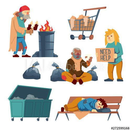 Homeless People Cartoon Vector Characters Set Isolated On White Background Poor Man Sleeping On Bench Woman Asking In 2021 Cartoons Vector Cartoon Cartoon Characters