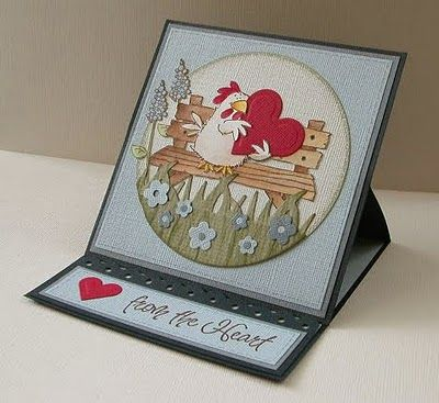 handmade Valentine ... easel card ... cute image ... chicken holding a huge heart while sitting on a bench ...