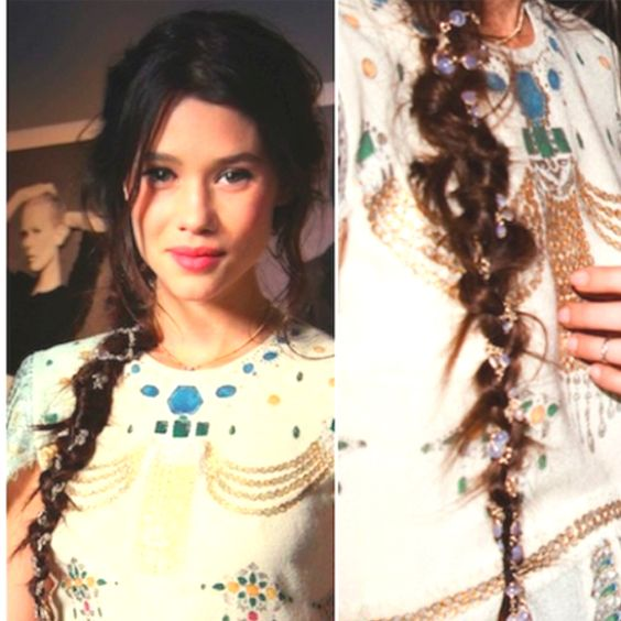 Chanel fine jewelry wound through the hair. Love!
