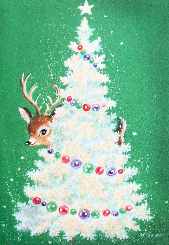 Vintage Retro Christmas Card ~ Reindeer and White Tree