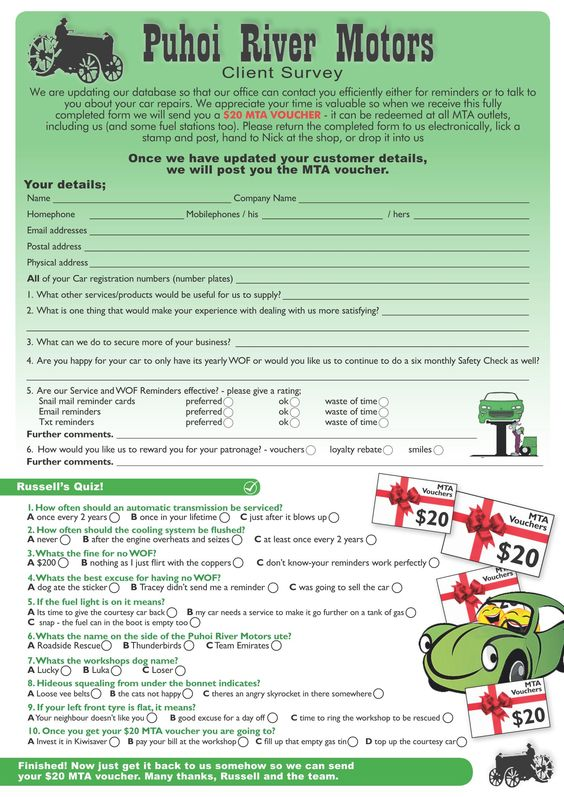 Client Survey with voucher incentive Some work examples - how to make a voucher