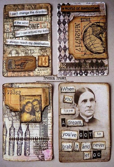 4 more altered playing cards by Brenda Brown - altered art - inches and journal page inspiration - atcs - atc artists #alteredart #inches #atc