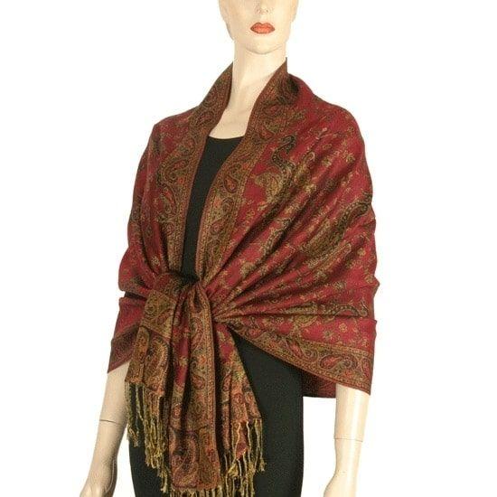 elegantly printed designer ladies silk metallic blend soft scarf wrap shawl