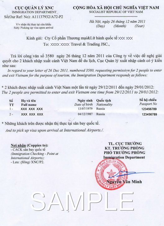 Visa Pre-Approval Letter Is A Letter Issued By Vietnam Immigration