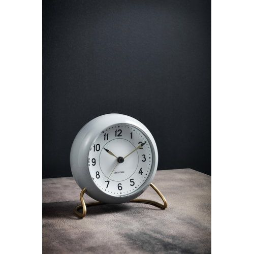 Arne Jacobsen Aj Station Table Clock With Alarm Grey Contemporarymodern Midcentruymodern Arnejacobsen Clock Alarmclo Clock Table Clock Mid Century Clock