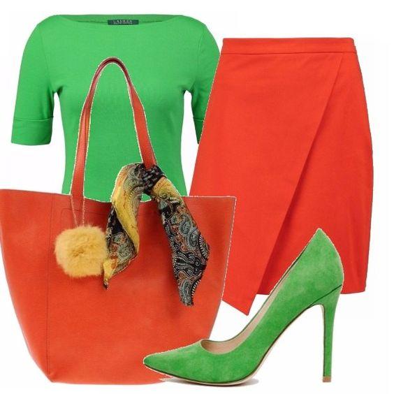 Accostamento un po' azzardato ma secondo me abbastanza riuscito per rispondere alla tendenza del color blockng. Gonna e borsa arancio abbinate a t-shirt e scarpe verdi. Che ne pensate?