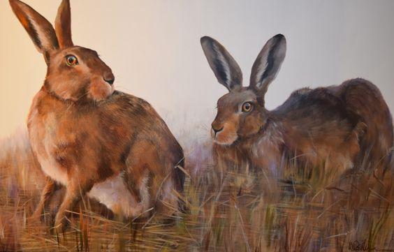 Autumn Hares by Wendy Darker