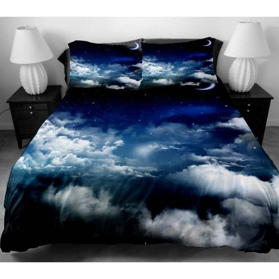 Bedding Set for Home Decor 2 Sides Printing white Clouds Mass In The Blue Sky Duvet Cover With 2 luxury pillow cases
