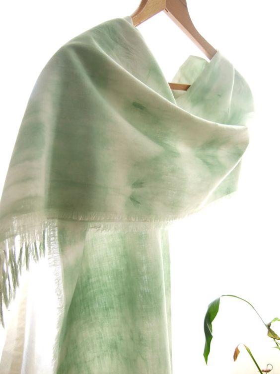 Fringed green wrapHand dyed long scarf Shibori by dyeing2meetU