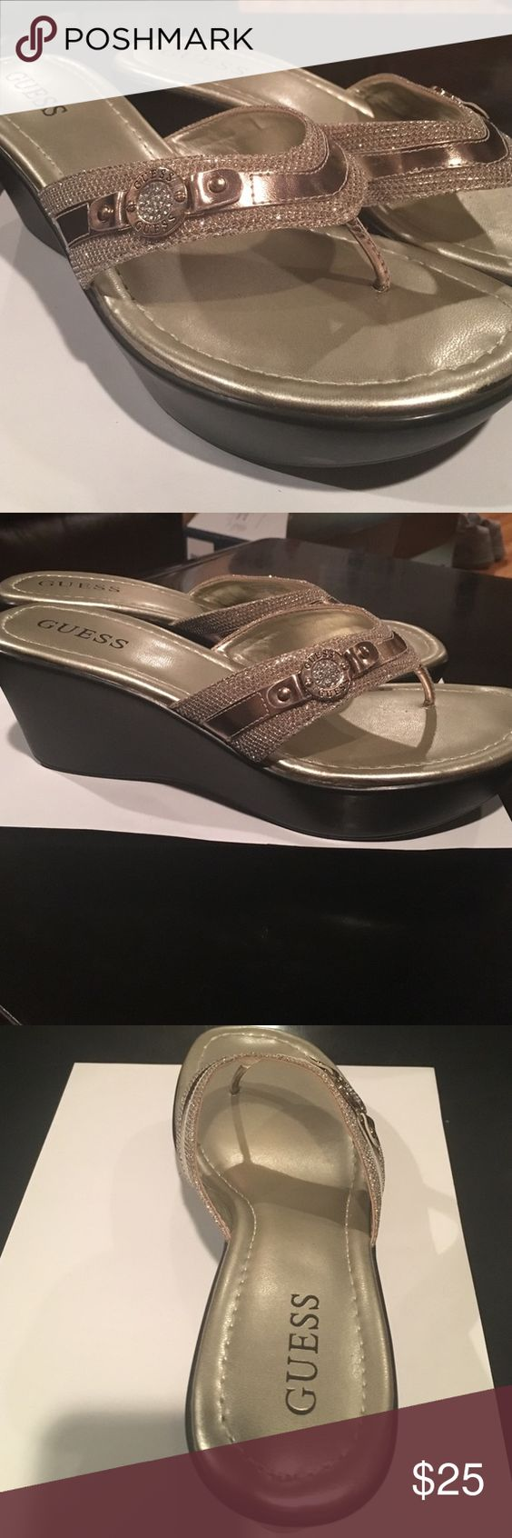 Guess Sparkling Wedged Flip-Flops These shoes are perfect for a glamorous day at the shore! Comfortable 2 inch wedge and a glittery belt-like detail. Guess Shoes Wedges