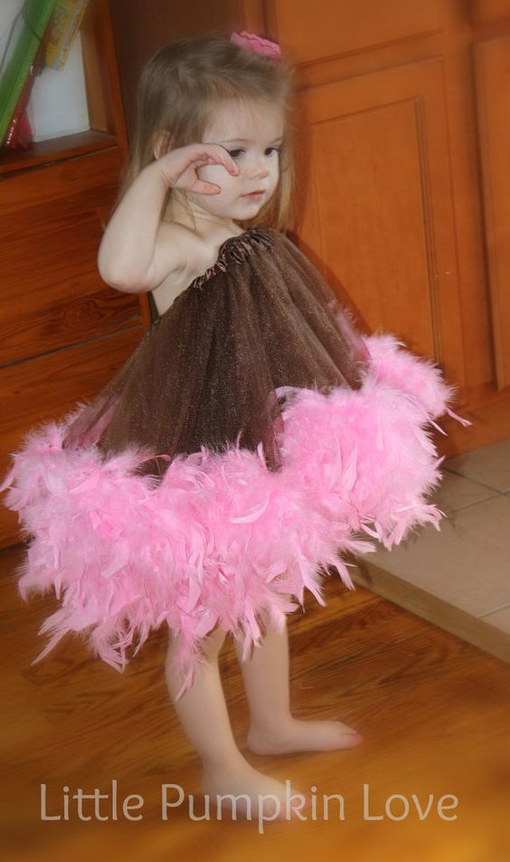 Brown and Pink Feather Bottom Tutu Skirt (or Dress) by LittlePumpkinLove