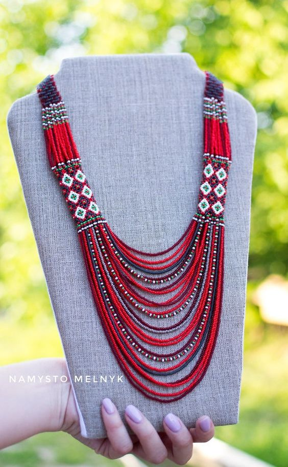 Ukrainian jewelry made of beads in red gray colors in folk Ukrainian style. Ukrainian gerdan, Multicolour gerdan, Multi-strand. Exclusive necklace in ethnic style. Red necklace for a gift to a woman, mom, girl. Ukrainian gift to women, Gerdan. ... READY TO SHIP!!!  100% handmade  Necklace