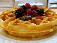 Belgian waffles - best recipe I have used so far. Yields 5 servings. Add up to 1/4 cup sugar if you like it sweetened. (I made extra to freeze, and after reheating in the toaster, these are still great! You will never go back to premade waffles!)