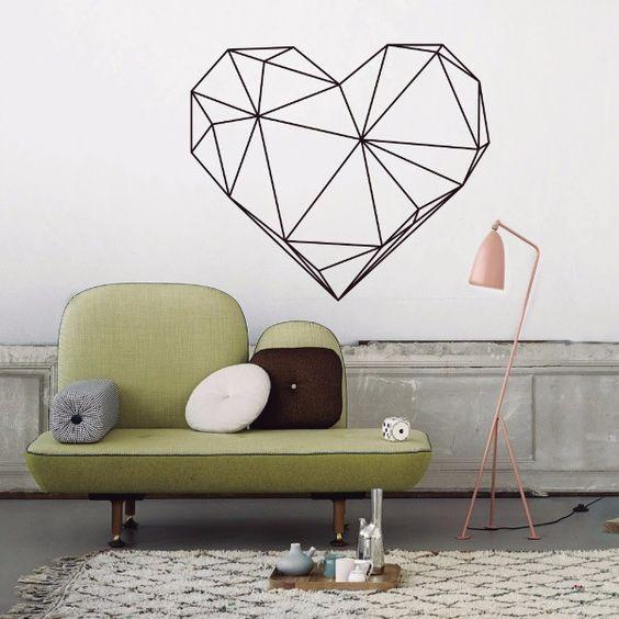 My vinilo. vinilos decorativos. decoración de pared. papel tapiz. Decohunter. Fun and graphics. Geometric heart. Encuentra donde comprar este producto en Colombia