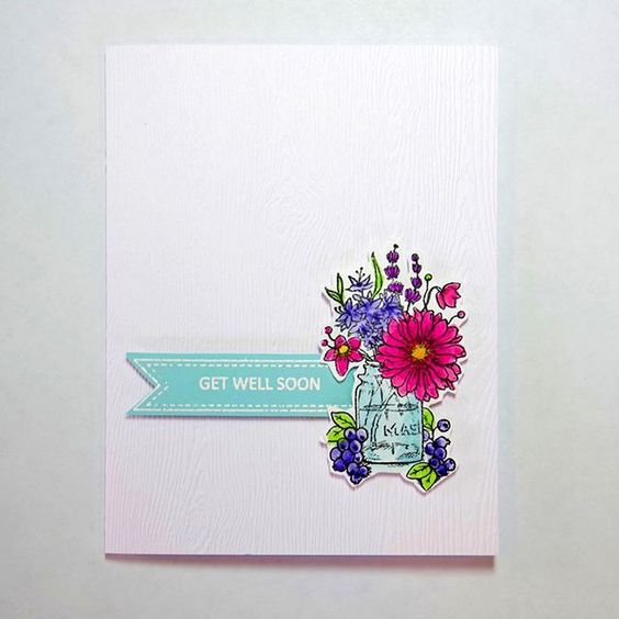 "Power Poppy Go Wild  Get Well Card.  This floral themed Get Well card was inspired by Tracy's card in Muse Card Club.  The elements that I used  were the ""get well"" theme,  spring floral, fussy cut, water color marker coloring and CAS design.  https://musecardclub.blogspot.com/2018/03/muse-challenge-257.html   I also entered my card in the March Power Poppy ""Power and Spark Fabric Inspiration"" challenge http://powerpoppy.blogspot.com/2018/03/power-spark-inspired-by-fabric.html"