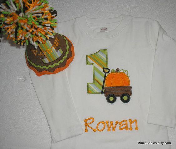 Pumpkin Birthday Shirt and Hat for Fall Birthday by mimisbabies - Kadyn 1st Birthday