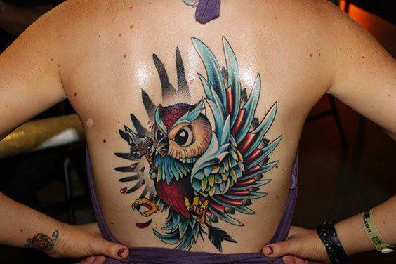 bad ass owl tattoo