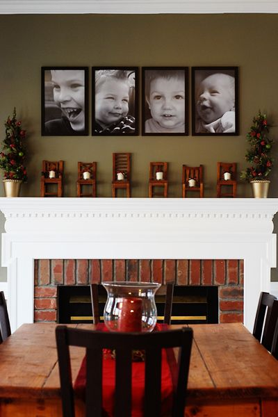 portraits: Dining Room, Photo Display, Cute Ideas, Wall Color, Kids Pictures, Big Pictures, Mantel Family Pictures, Photo Idea, Picture Ideas