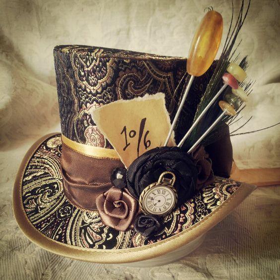 Mad Hatter, Alice in Wonderland, Steampunk Hat, Mini Top Hat, Tea Party, Sherlock, Gothic Hat, Lolita, Cosplay, Women Steampunk Hats