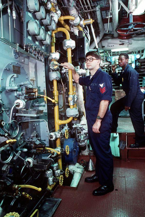 Steam Ship Engine Room: Boiler Technicians Monitor Gauges In The Boiler Room Of
