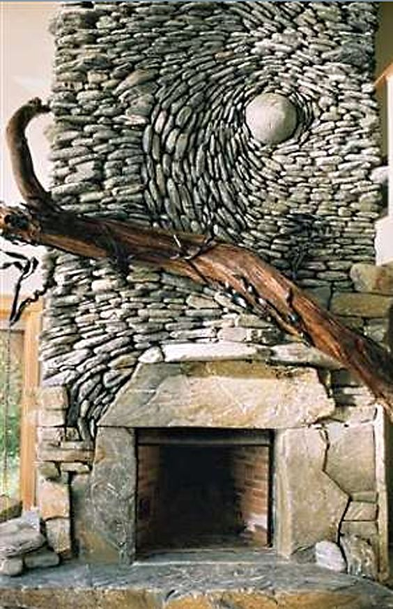stone fireplace.  @shauna lee lange studios we're connoisseur curators ✄