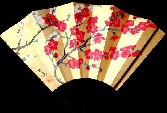 Japanese  Fan Vintage Paper Ogi Sensu F83 Hand by VintageFromJapan, $22.00 #vintage #shopping #etsy #Japan #art