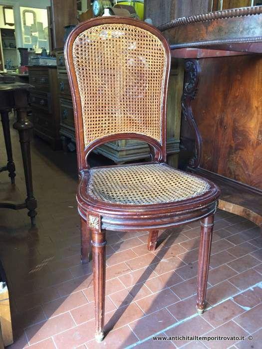 Mobili antichi - Sedie Quattro sedie francesi - Lotto quattro sedie in mogano e paglia di vienna Immagine n°1