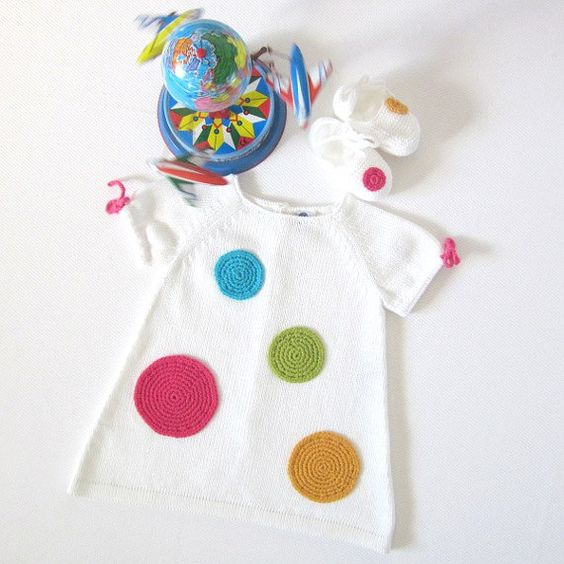 Knitted baby dress white with big crochet dots. 100 by tenderblue, $88.00: