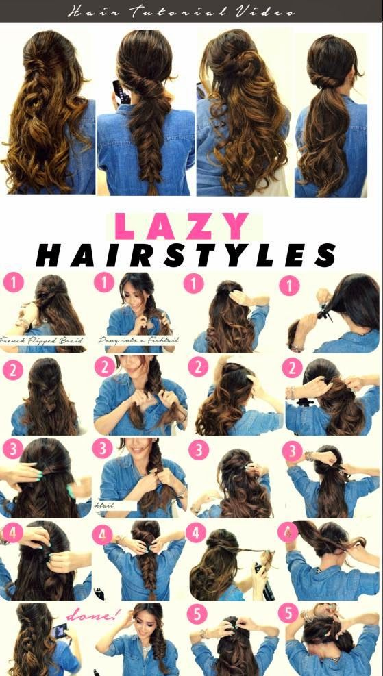 Hairstyle Fast And Beautiful 5 Ideas For Hairstyles Fast And Beautiful Best Hairstyle Lazy Hairstyles Long Hair Styles Hair Styles