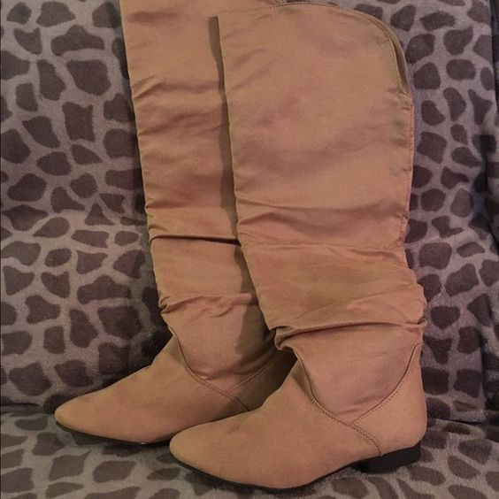 Tan size 8.5 never worn knee\ thigh high flat boot Size 8.5 tan boots never worn . They go slightly higher than the knee. got them off just fab JustFab Shoes Over the Knee Boots