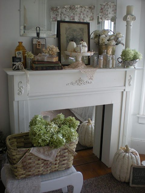 Stand alone mantel with a mirror insert put the look of a - Manteles shabby chic ...