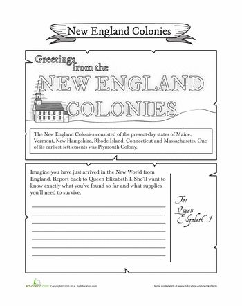Printables Colonial America Worksheets new england colonies postcard plymouth back to and historian worksheets colonies
