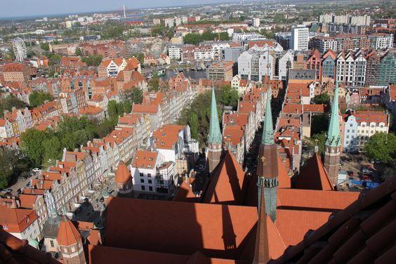 Вид на Гданьск с крыши собора